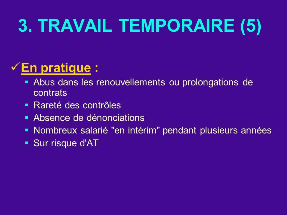 3. TRAVAIL TEMPORAIRE (5) En pratique : Abus dans les renouvellements ou prolongations de contrats Rareté des contrôles Absence de dénonciations Nombr