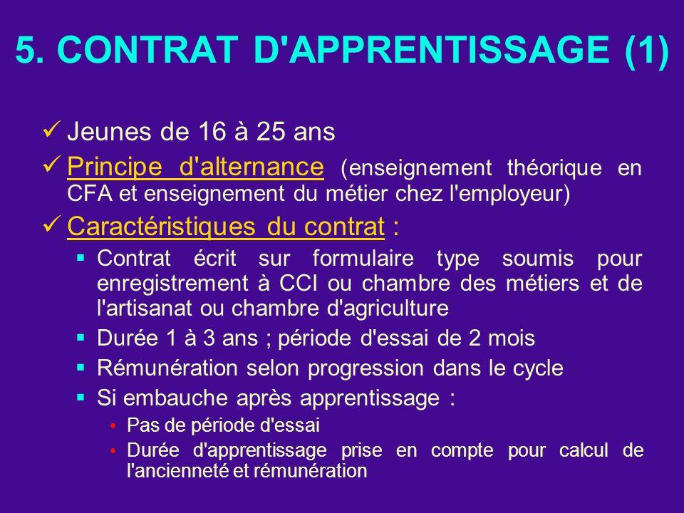 5. CONTRAT D'APPRENTISSAGE (1) Jeunes de 16 à 25 ans Principe d'alternance (enseignement théorique en CFA et enseignement du métier chez l'employeur)