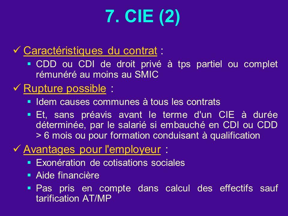 7. CIE (2) Caractéristiques du contrat : CDD ou CDI de droit privé à tps partiel ou complet rémunéré au moins au SMIC Rupture possible : Idem causes c
