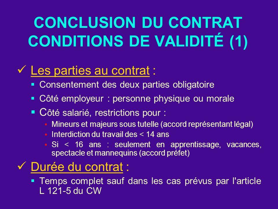 CONCLUSION DU CONTRAT CONDITIONS DE VALIDITÉ (1) Les parties au contrat : Consentement des deux parties obligatoire Côté employeur : personne physique