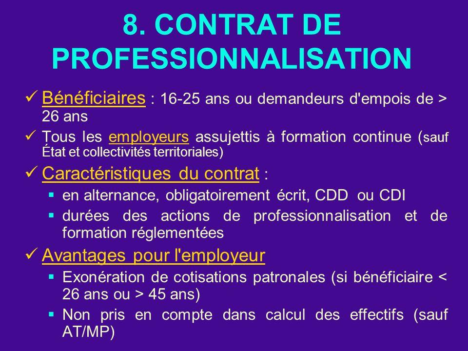 8. CONTRAT DE PROFESSIONNALISATION Bénéficiaires : 16-25 ans ou demandeurs d'empois de > 26 ans Tous les employeurs assujettis à formation continue (