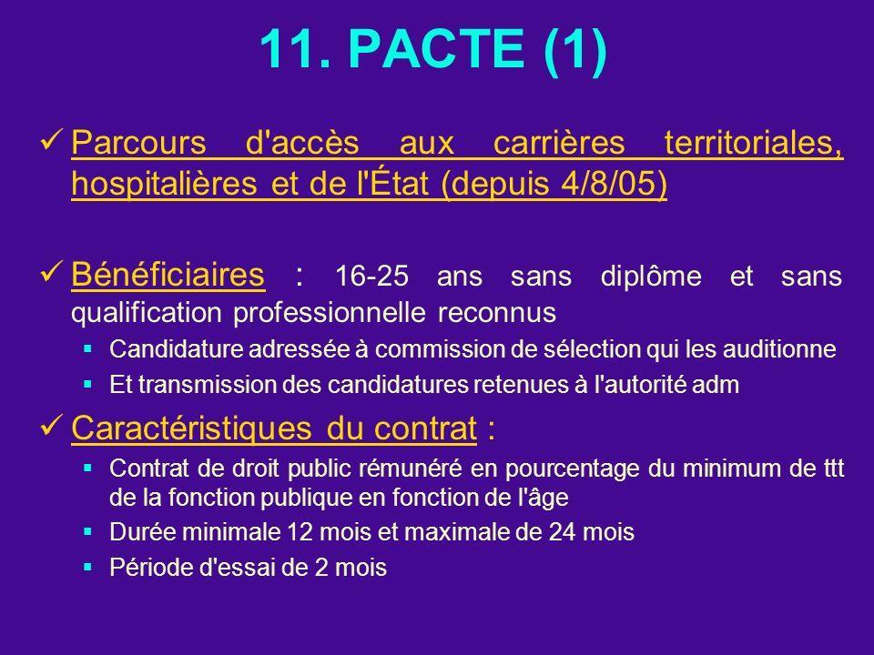 11. PACTE (1) Parcours d'accès aux carrières territoriales, hospitalières et de l'État (depuis 4/8/05) Bénéficiaires : 16-25 ans sans diplôme et sans