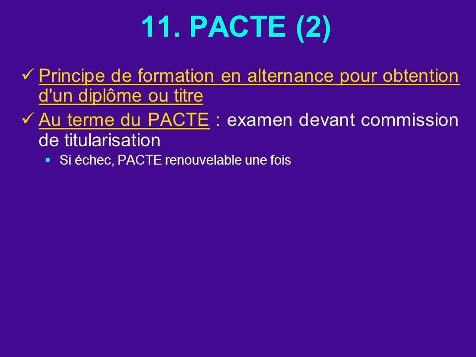11. PACTE (2) Principe de formation en alternance pour obtention d'un diplôme ou titre Au terme du PACTE : examen devant commission de titularisation