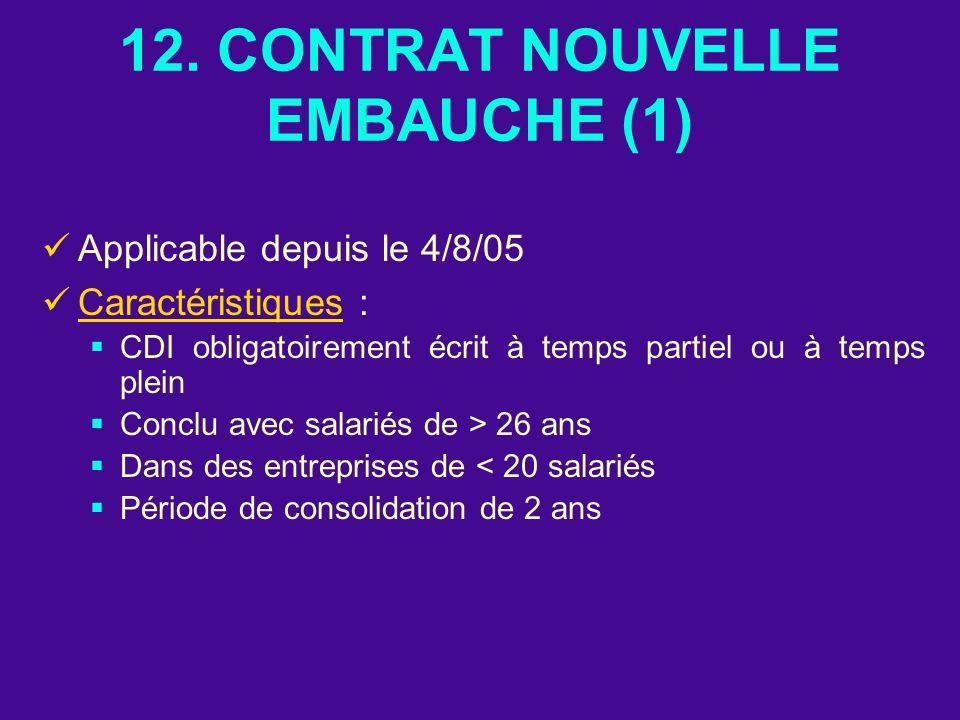 12. CONTRAT NOUVELLE EMBAUCHE (1) Applicable depuis le 4/8/05 Caractéristiques : CDI obligatoirement écrit à temps partiel ou à temps plein Conclu ave