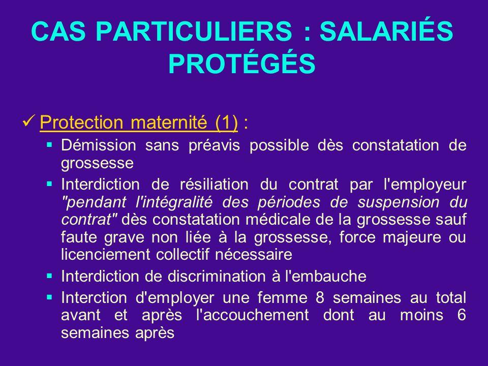 CAS PARTICULIERS : SALARIÉS PROTÉGÉS Protection maternité (1) : Démission sans préavis possible dès constatation de grossesse Interdiction de résiliat