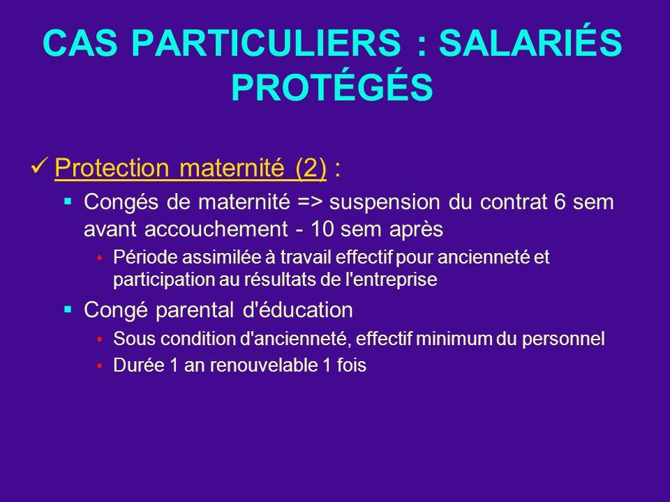 CAS PARTICULIERS : SALARIÉS PROTÉGÉS Protection maternité (2) : Congés de maternité => suspension du contrat 6 sem avant accouchement - 10 sem après P