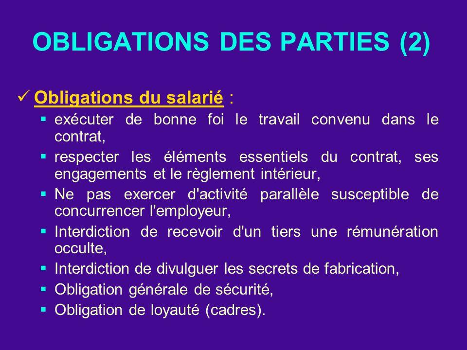 OBLIGATIONS DES PARTIES (2) Obligations du salarié : exécuter de bonne foi le travail convenu dans le contrat, respecter les éléments essentiels du co