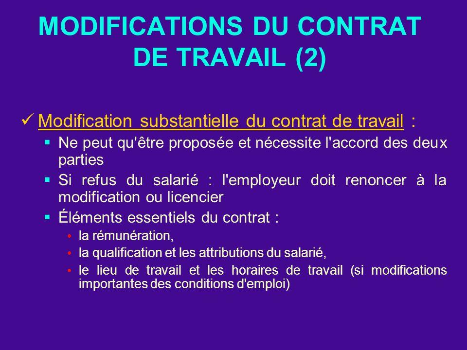 MODIFICATIONS DU CONTRAT DE TRAVAIL (2) Modification substantielle du contrat de travail : Ne peut qu'être proposée et nécessite l'accord des deux par