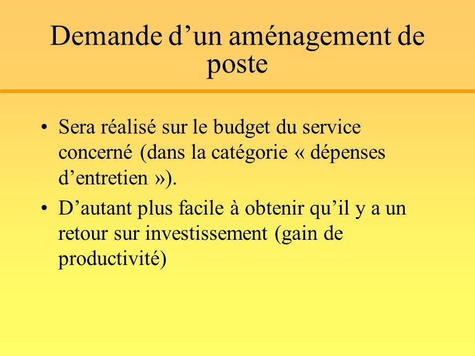 Demande dun aménagement de poste Sera réalisé sur le budget du service concerné (dans la catégorie « dépenses dentretien »). Dautant plus facile à obt