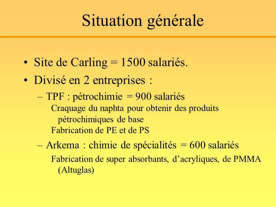 Situation générale Site de Carling = 1500 salariés. Divisé en 2 entreprises : –TPF : pétrochimie = 900 salariés Craquage du naphta pour obtenir des pr
