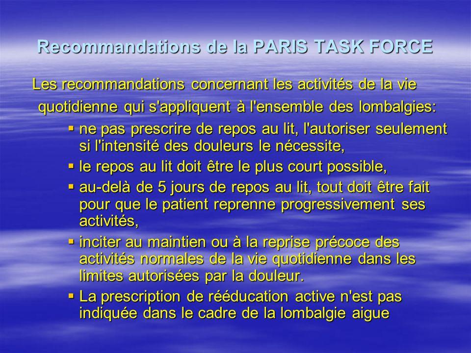 Recommandations de la PARIS TASK FORCE Les recommandations concernant les activités de la vie quotidienne qui s'appliquent à l'ensemble des lombalgies