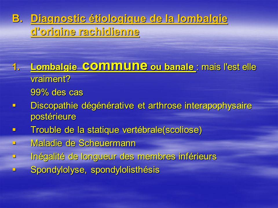 B.Diagnostic étiologique de la lombalgie d'origine rachidienne 1.Lombalgie commune ou banale : mais l'est elle vraiment? 99% des cas Discopathie dégén