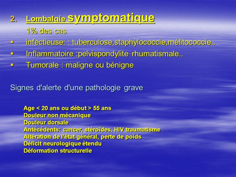 2.Lombalgie symptomatique 1% des cas infectieuse: : tuberculose,staphylococcie,mélitococcie.. infectieuse: : tuberculose,staphylococcie,mélitococcie..