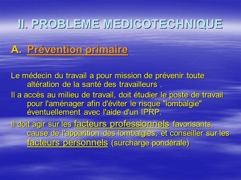 II. PROBLEME MEDICOTECHNIQUE A.Prévention primaire Le médecin du travail a pour mission de prévenir toute altération de la santé des travailleurs. Il