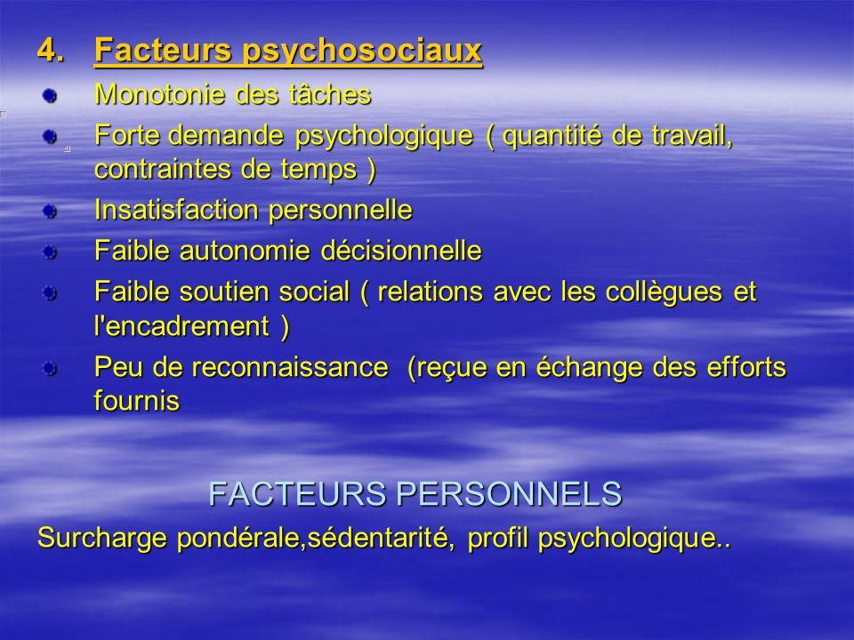 4.Facteurs psychosociaux Monotonie des tâches Forte demande psychologique ( quantité de travail, contraintes de temps ) Insatisfaction personnelle Fai