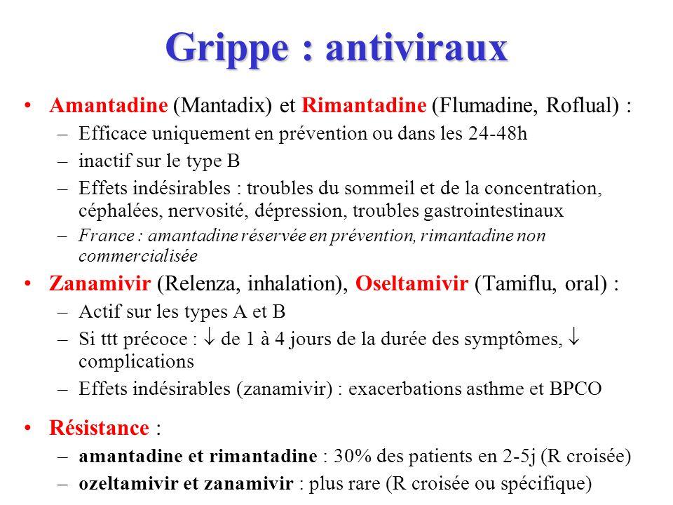 Grippe : antiviraux Amantadine (Mantadix) et Rimantadine (Flumadine, Roflual) : –Efficace uniquement en prévention ou dans les 24-48h –inactif sur le