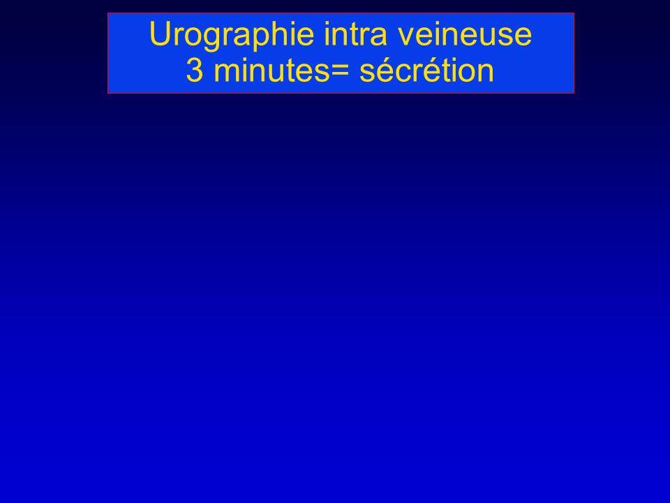 Urographie intra veineuse 3 minutes= sécrétion