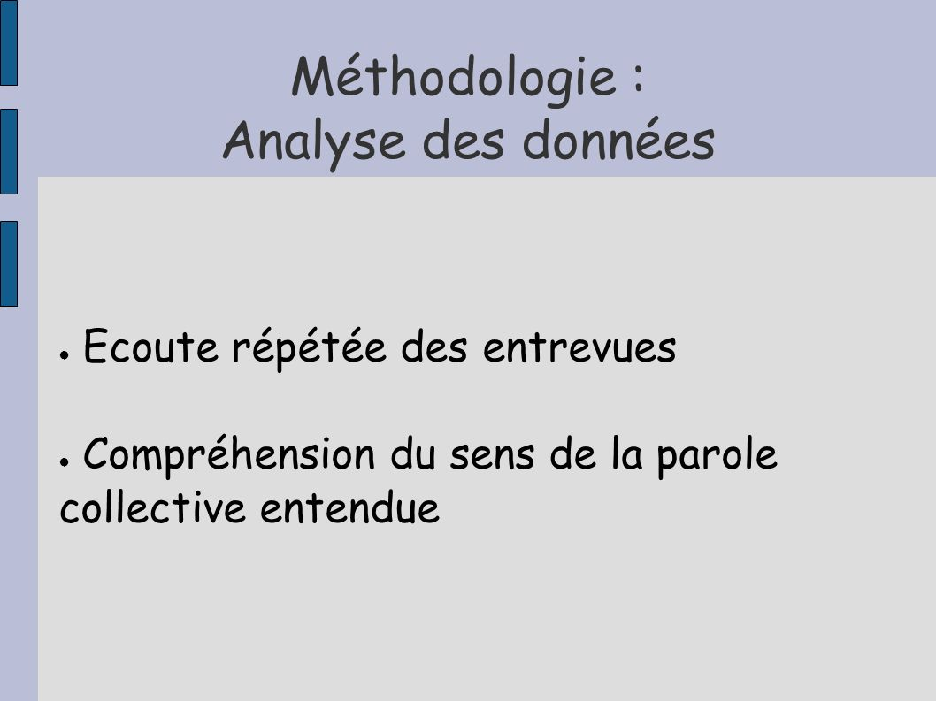 Méthodologie : Analyse des données Ecoute répétée des entrevues Compréhension du sens de la parole collective entendue