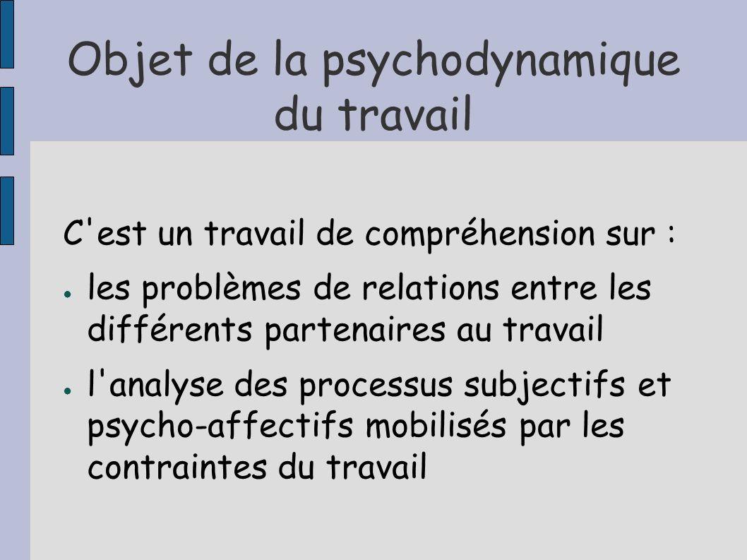 Objet de la psychodynamique du travail C'est un travail de compréhension sur : les problèmes de relations entre les différents partenaires au travail