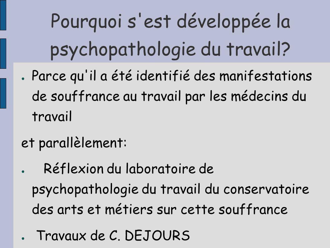 Pourquoi s'est développée la psychopathologie du travail? Parce qu'il a été identifié des manifestations de souffrance au travail par les médecins du