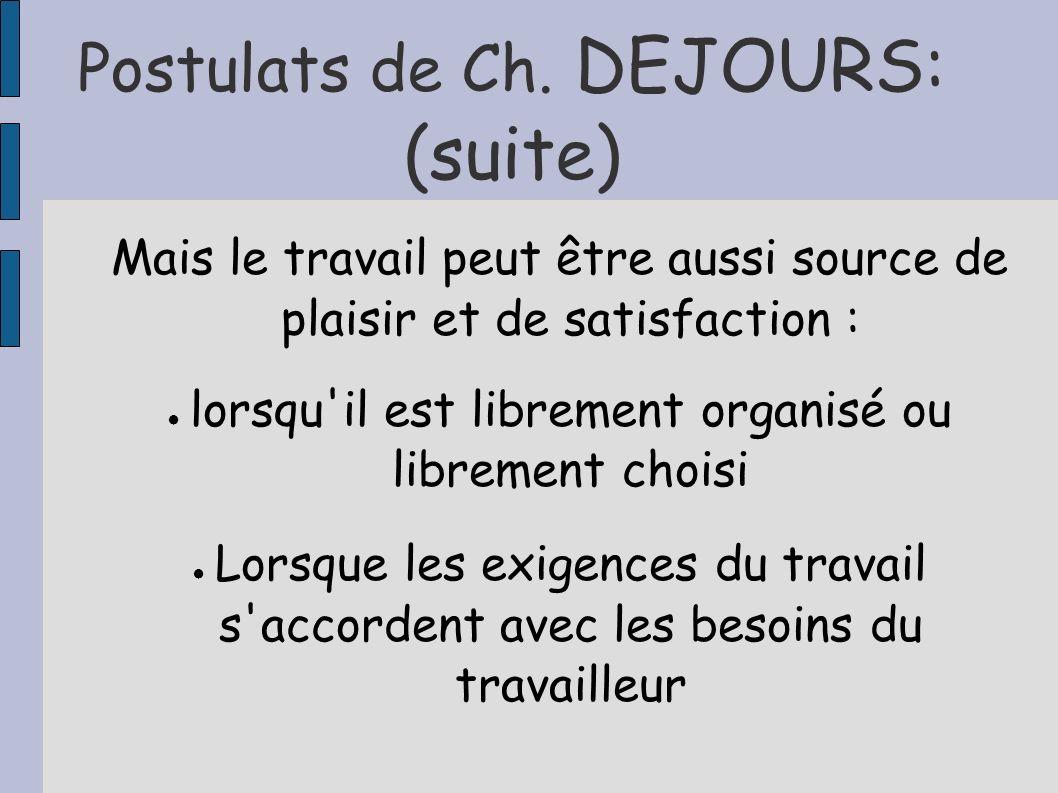 Postulats de Ch. DEJOURS: (suite) Mais le travail peut être aussi source de plaisir et de satisfaction : lorsqu'il est librement organisé ou librement
