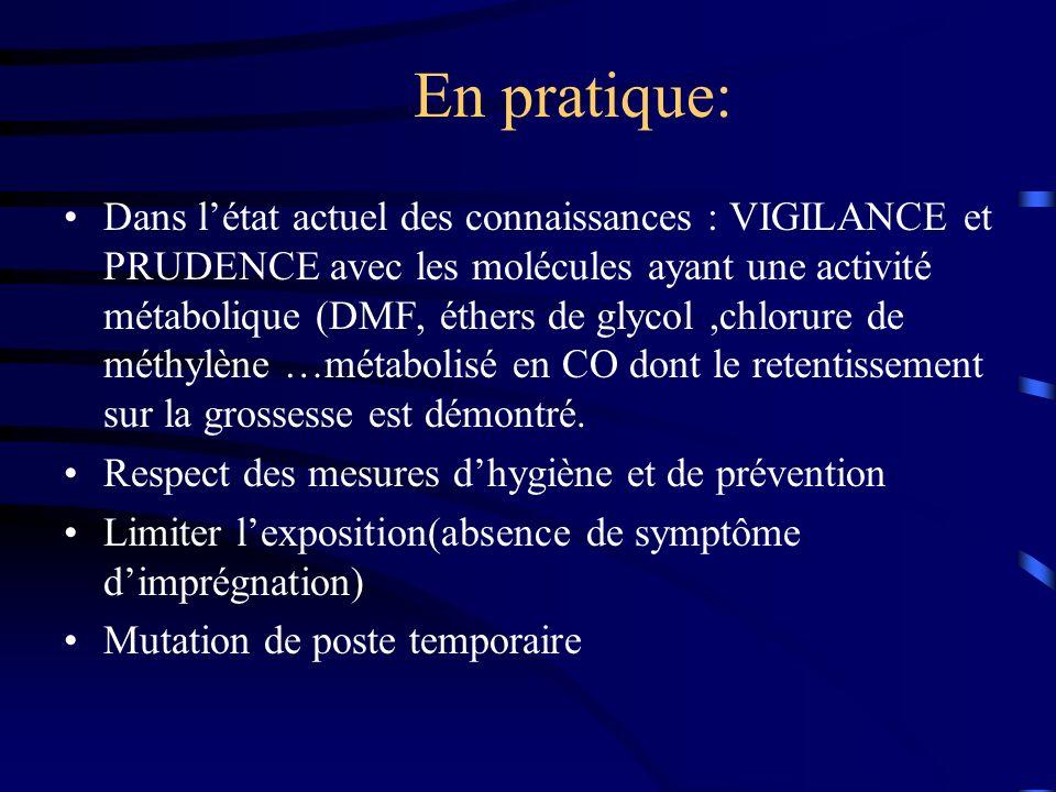 En pratique: Dans létat actuel des connaissances : VIGILANCE et PRUDENCE avec les molécules ayant une activité métabolique (DMF, éthers de glycol,chlo