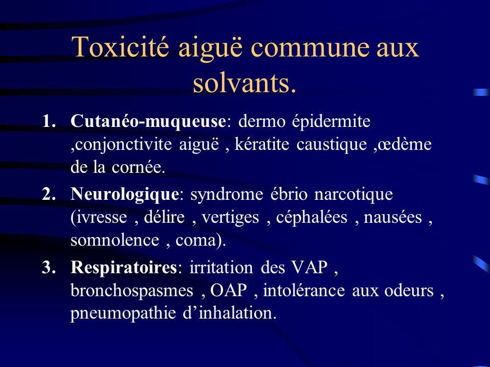 Toxicité aiguë commune aux solvants. 1.Cutanéo-muqueuse: dermo épidermite,conjonctivite aiguë, kératite caustique,œdème de la cornée. 2.Neurologique: