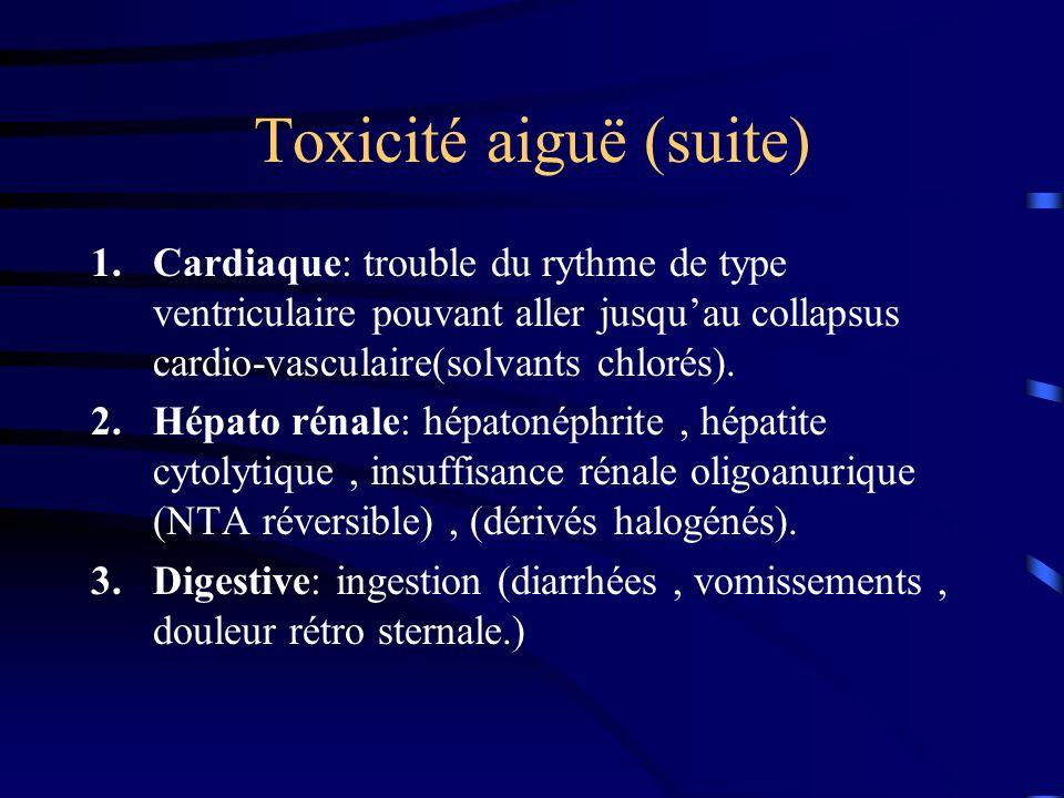 Toxicité aiguë (suite) 1.Cardiaque: trouble du rythme de type ventriculaire pouvant aller jusquau collapsus cardio-vasculaire(solvants chlorés). 2.Hép