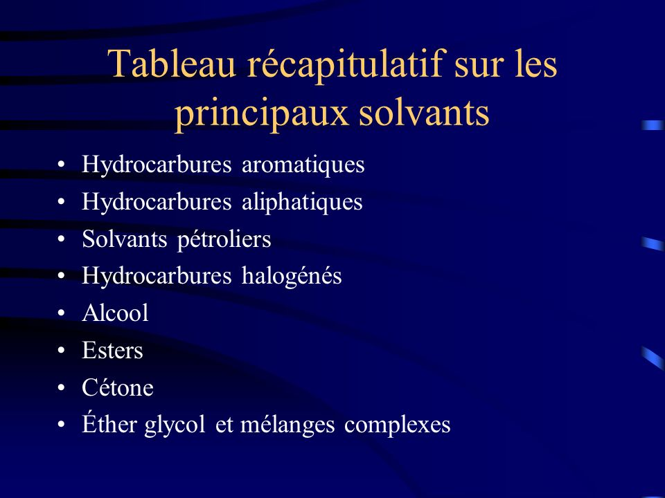 Tableau récapitulatif sur les principaux solvants Hydrocarbures aromatiques Hydrocarbures aliphatiques Solvants pétroliers Hydrocarbures halogénés Alc