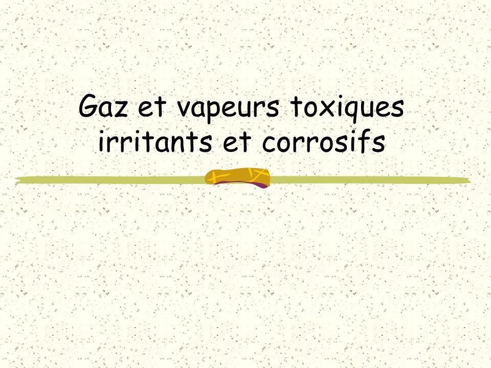Les principaux gaz irritants et caustiques Peu hydrosolubles : – dioxyde d azote (NO2) – Oxyde nitrique (NO) – ozone (O3) – phosgène (COCl2)