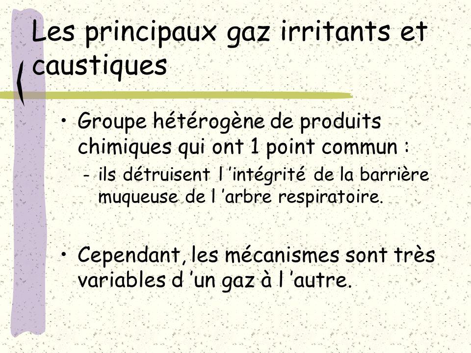 Les principaux gaz irritants et caustiques Groupe hétérogène de produits chimiques qui ont 1 point commun : – ils détruisent l intégrité de la barrièr