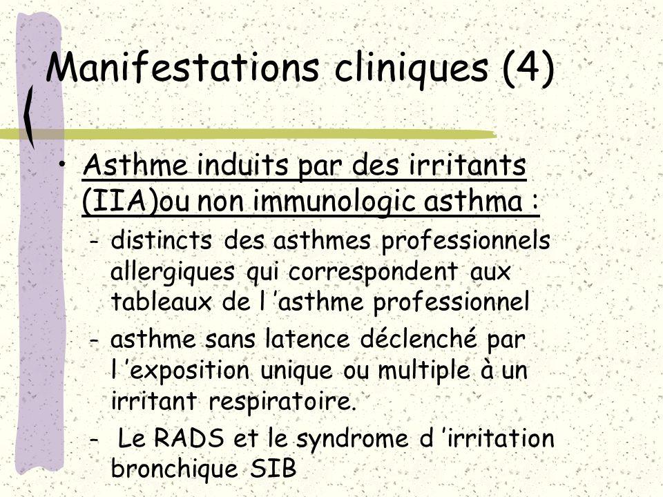 Manifestations cliniques (4) Asthme induits par des irritants (IIA)ou non immunologic asthma : – distincts des asthmes professionnels allergiques qui