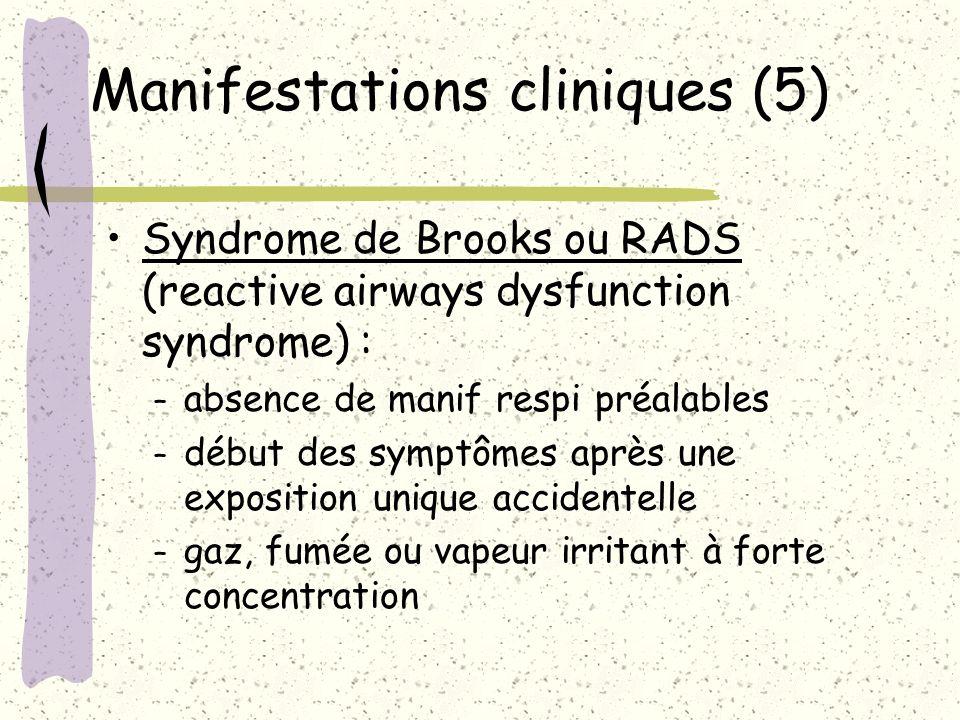 Manifestations cliniques (5) Syndrome de Brooks ou RADS (reactive airways dysfunction syndrome) : – absence de manif respi préalables – début des symp