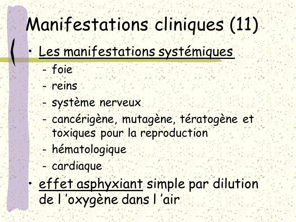 Manifestations cliniques (11) Les manifestations systémiques – foie – reins – système nerveux – cancérigène, mutagène, tératogène et toxiques pour la