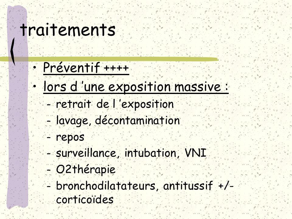 traitements Préventif ++++ lors d une exposition massive : – retrait de l exposition – lavage, décontamination – repos – surveillance, intubation, VNI