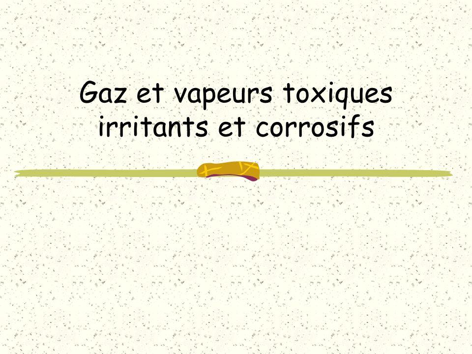 définitions Gaz et vapeurs : – inertes (hydrogène, azote, alcanes, gaz rares) – irritants et caustiques : à effets locorégionaux au niveau respiratoire à effets systémique les fumées d incendie les vapeurs métalliques