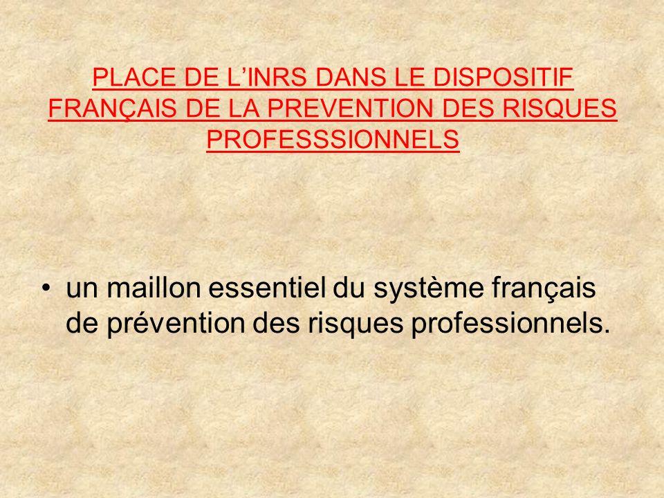 PLACE DE LINRS DANS LE DISPOSITIF FRANÇAIS DE LA PREVENTION DES RISQUES PROFESSSIONNELS un maillon essentiel du système français de prévention des ris