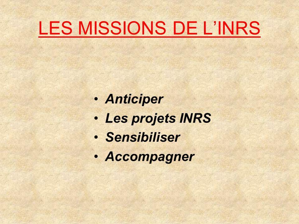 LES MISSIONS DE LINRS Anticiper Les projets INRS Sensibiliser Accompagner