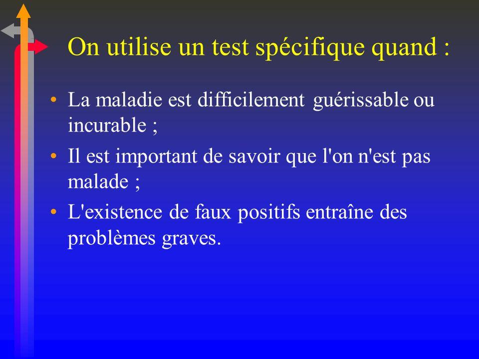On utilise un test spécifique quand : La maladie est difficilement guérissable ou incurable ; Il est important de savoir que l'on n'est pas malade ; L