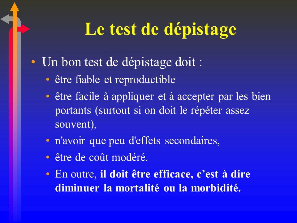 Le test de dépistage Un bon test de dépistage doit : être fiable et reproductible être facile à appliquer et à accepter par les bien portants (surtout