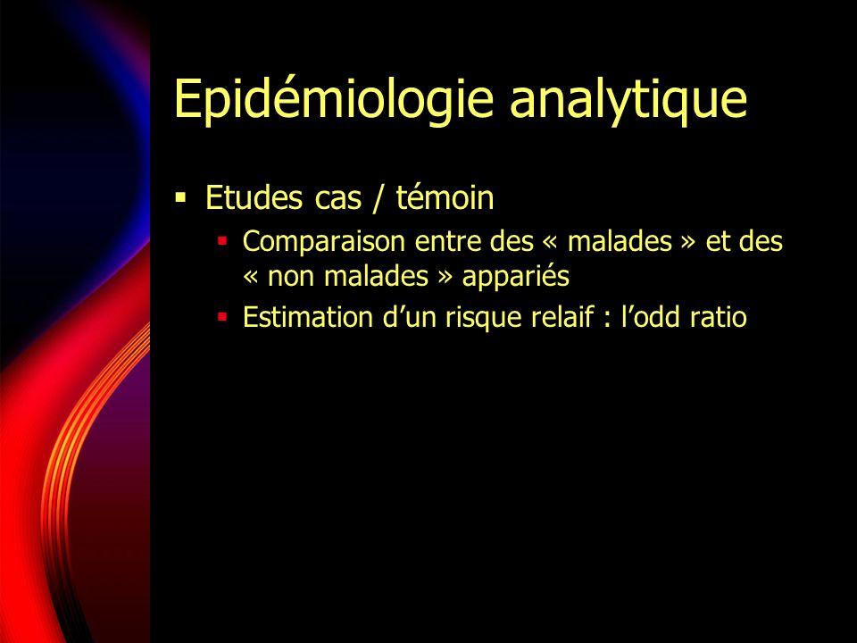 Epidémiologie analytique Etudes cas / témoin Comparaison entre des « malades » et des « non malades » appariés Estimation dun risque relaif : lodd rat