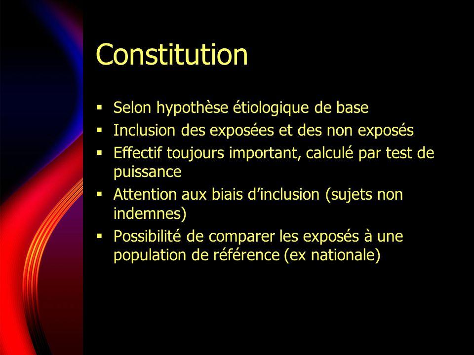 Constitution Selon hypothèse étiologique de base Inclusion des exposées et des non exposés Effectif toujours important, calculé par test de puissance