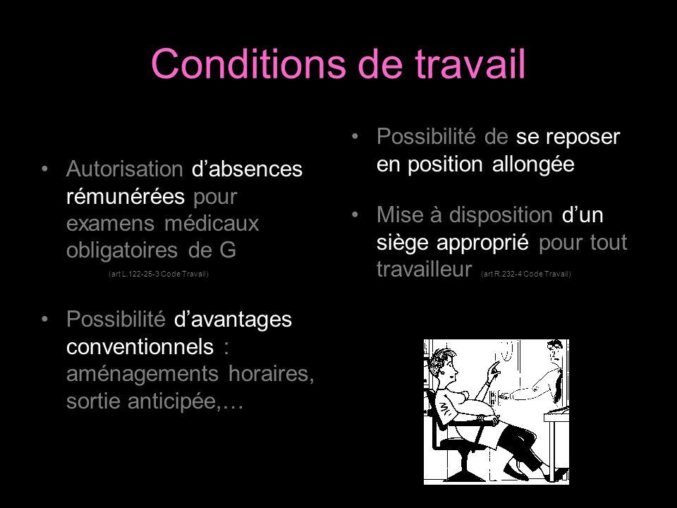 Conditions de travail Autorisation dabsences rémunérées pour examens médicaux obligatoires de G (art L.122-25-3 Code Travail) Possibilité davantages c