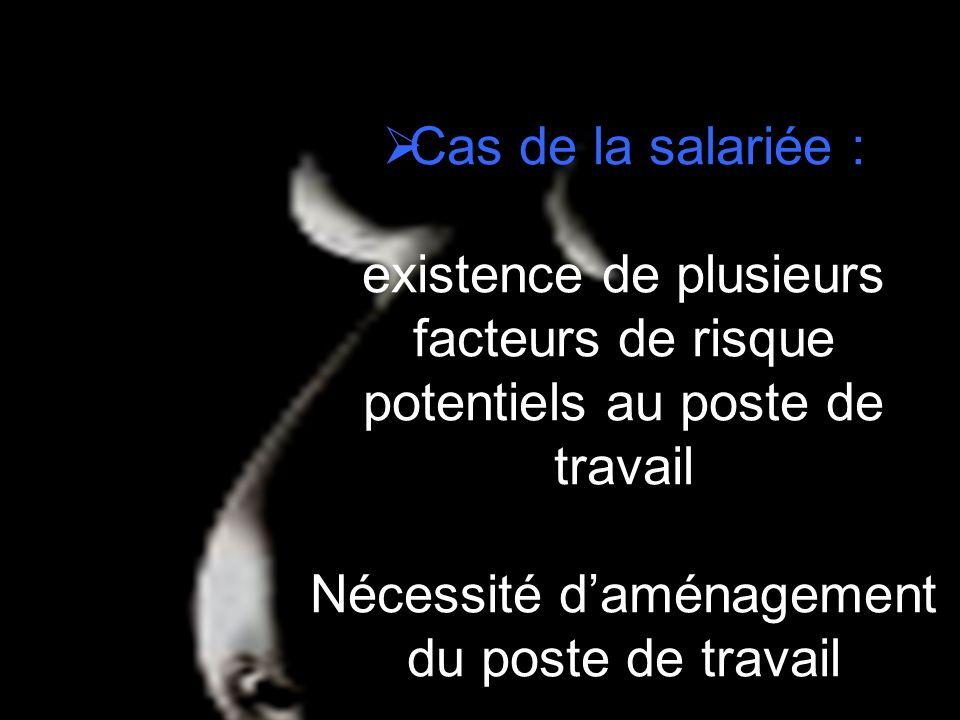 Cas de la salariée : existence de plusieurs facteurs de risque potentiels au poste de travail Nécessité daménagement du poste de travail