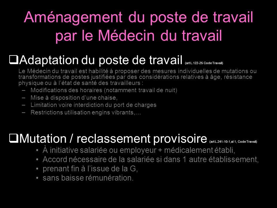 Aménagement du poste de travail par le Médecin du travail Adaptation du poste de travail (art L.122-25 Code Travail) Le Médecin du travail est habilit