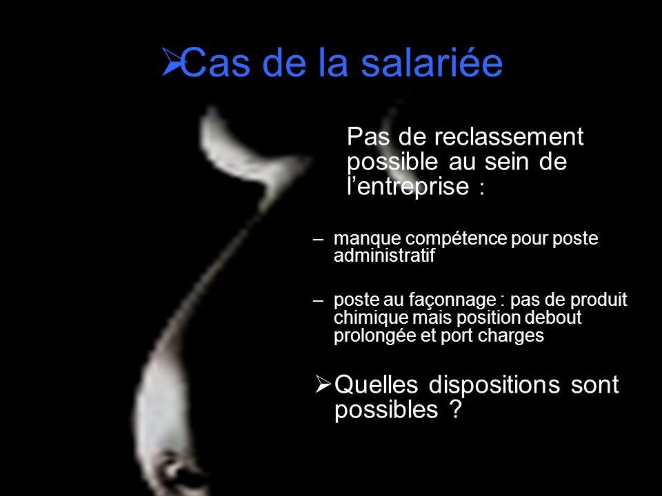 Cas de la salariée Pas de reclassement possible au sein de lentreprise : –manque compétence pour poste administratif –poste au façonnage : pas de prod