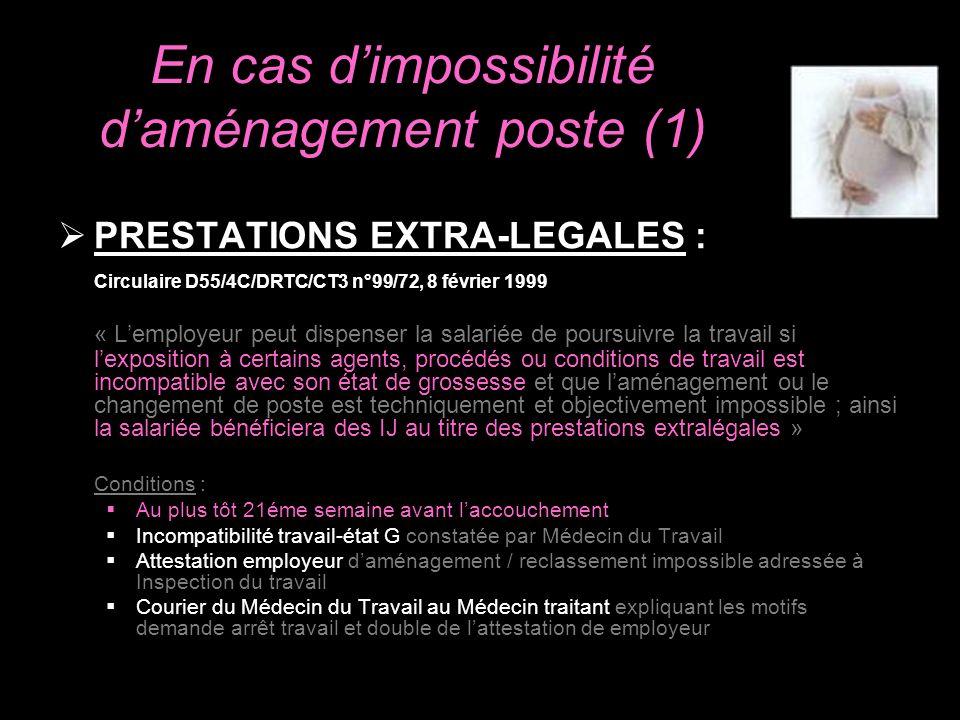 En cas dimpossibilité daménagement poste (1) PRESTATIONS EXTRA-LEGALES : Circulaire D55/4C/DRTC/CT3 n°99/72, 8 février 1999 « Lemployeur peut dispense