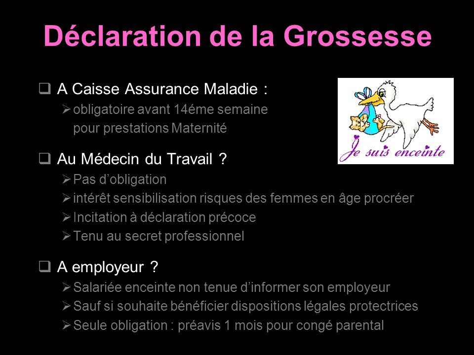 Déclaration de la Grossesse A Caisse Assurance Maladie : obligatoire avant 14éme semaine pour prestations Maternité Au Médecin du Travail ? Pas doblig