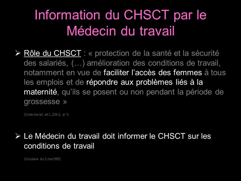 Information du CHSCT par le Médecin du travail Rôle du CHSCT : « protection de la santé et la sécurité des salariés, (…) amélioration des conditions de travail, notamment en vue de faciliter laccès des femmes à tous les emplois et de répondre aux problèmes liés à la maternité, quils se posent ou non pendant la période de grossesse » (Code travail, art L.236-2, al 1) Le Médecin du travail doit informer le CHSCT sur les conditions de travail (Circulaire du 2 mai1985)