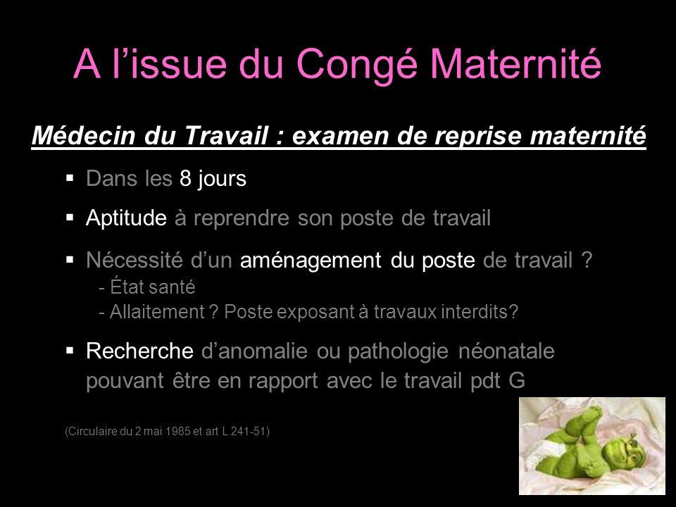 A lissue du Congé Maternité Médecin du Travail : examen de reprise maternité Dans les 8 jours Aptitude à reprendre son poste de travail Nécessité dun